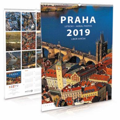 Praha - letecky / nástěnný kalendář na rok 2019(8595115203801)