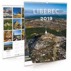 Liberec / nástěnný kalendář na rok 2019-Letecké i pozemní snímky L. Sváčka
