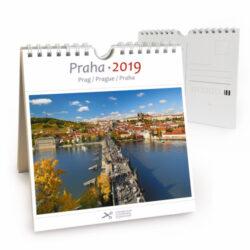 Praha / pohl. kal. na rok 2019-Kalendář je možno zavěsit na stěnu i postavit na stůl. Jednotlivé listy lze použít jako pohlednice.