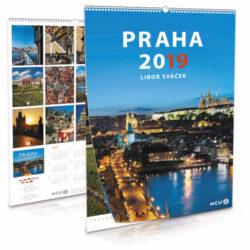 Praha / nástěnný kalendář na rok 2019-Letecké i pozemní snímky L. Sváčka