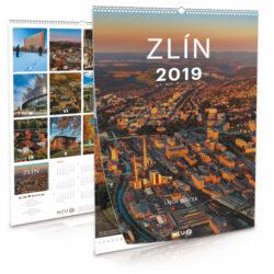 Zlín / nástěnný kalendář na rok 2019-Letecké i pozemní snímky L. Sváčka