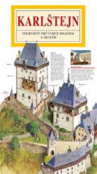 Karlštejn / panoramatická mapa-Kreslená panoramatická mapa hradu Karlštejn s podrobným ilustrovaným průvodcem