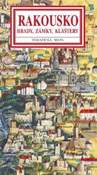 Rakousko / panoramatická mapa-Kreslená panoramatická mapa Rakouska s ilustrovaným průvodcem hrady a zámky