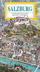 Salzburg / panoramatická mapa-Kreslená panoramatická mapa Salzburgu s ilustrovaným průvodcem