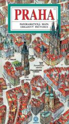 Praha / panoramatická mapa-Kreslená panoramatická mapa Prahy s ilustrovaným průvodcem